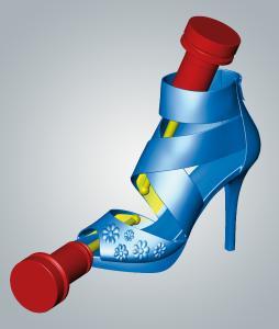 Ein Beispiel für die Möglichkeiten der 5-Achs-Simultanbearbeitung mit hyperMILL® ist der High-Heel-Schuh aus dem Imagefilm der NORTEC / Bildquelle: OPEN MIND