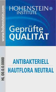 Das neue Hohenstein Qualitätslabel weist die Sicherheit von antibakteriellen Produkten gegenüber der menschlichen Hautflora aus. © Hohenstein Institute