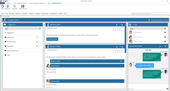 Mit der Diskussionsplattform WinLine SHARE ist die gesamte Kommunikation im Unternehmen übersichtlich und nachvollziehbar organisiert. Alle Informationen, wie E-Mails, Dokumente, Dateien, Aufgaben und Notizen, werden hier thematisch gebündelt.  Angelehnt an bekannte Messengerdienste und soziale Netzwerke erfolgt die Kommunikation - ob 1:1 oder in Gruppen - über intuitiv bedienbare Activity Streams, per Chat oder über die integrierte Videokonferenz.