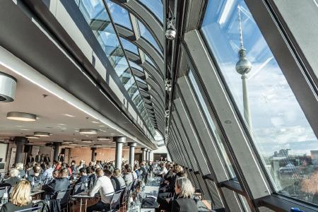 The venue of the macmon secure GmbH partner day, the Hotel Radisson Blu in Berlin, with a wonderful view of the TV tower