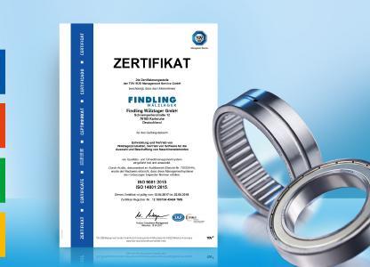 Findling Wälzlager wurde nach den neuesten Standards für Qualitäts- und Umweltmanagement DIN ISO 9001:2015 bzw. 14001:2015 zertifiziert