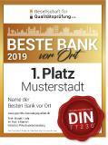 """Auszeichnung 2019 """"Beste Bank vor Ort"""""""