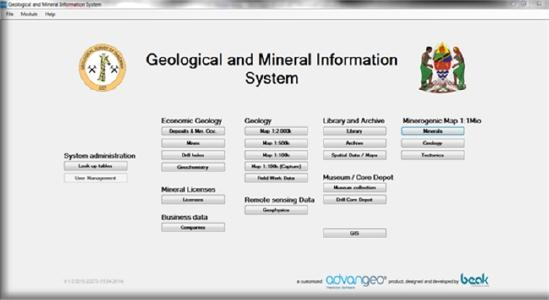 Figure: advangeo® Geodata Database, customized for the Geological Survey of Tanzania