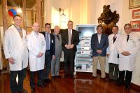 Richard Wolf and E. Tamussino are honored for their donation to the Santa Casa de Misericordia Hospital in Sao Paulo, Brazil