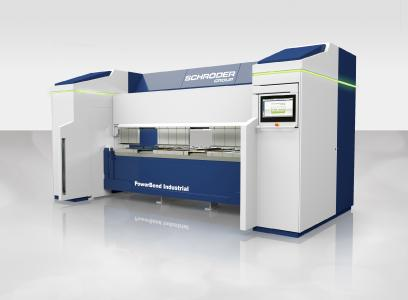 Auf der Messe SamuExpo ist die neue Schwenkbiegemaschine PowerBend Industrial zu sehen / Bildquelle: Schröder Group