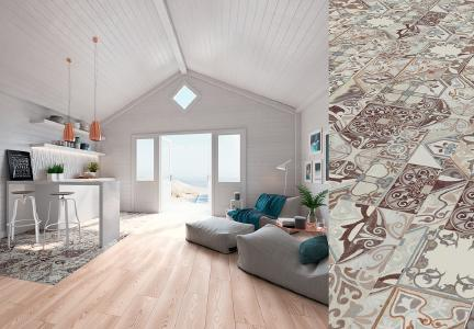 Hidraulic Tile (M8083) and Milky Pine Natur (M8085) of the  MY FLOOR collection (foto: SWISS KRONO GROUP)