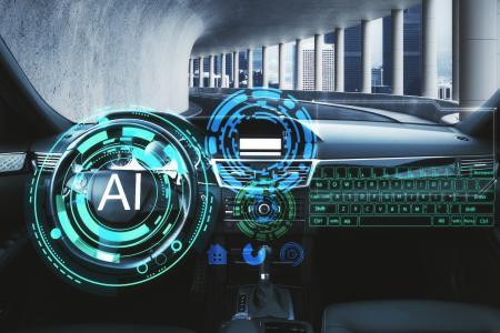 Autoinnenraum mit Artificial Intelligence (AI)-Schnittstelle (Quelle Hexagon)
