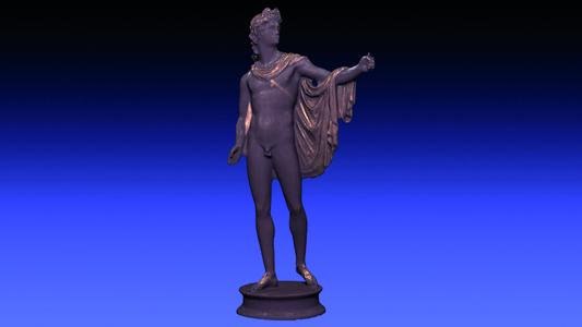 """Fraunhofer-researchers have captured the sculpture of """"Apollo Belvedere"""" (1497/98) by Renaissance Sculptor Pier Jacopo Alari Bonacolsi (ca. 1460– 1528) with a photometric method of their 3D scanning facility CultLab3D (© Fraunhofer IGD)"""