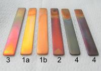 Verschiedene Korrosionsgrade vom Kupferstreifentest nach ASTM D 130 - Produkte von Oemeta bei 1a (2. v li). Oemeta zeigt auf der AMB in Stuttgart wassermischbare Kühlschmierstoffe für die Bearbeitung von Titanlegierungen sowie Bunt- und Hartmetallen.