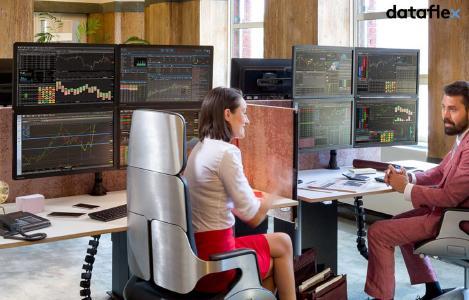 Dataflex Mehrfach Monitor Halterung Anwendung Finanzsektor