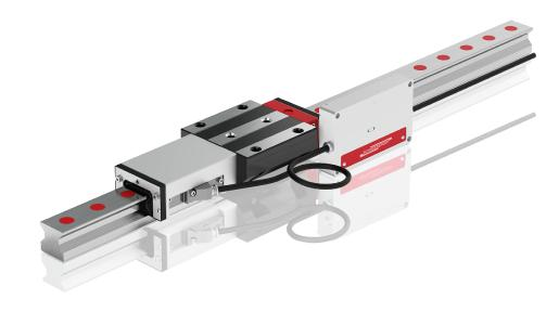 The integrated AMS distance measuring system from SCHNEEBERGER can be perfectly integrated into MONORAIL guideways – both roller guideways and ball guideways – and ensures exact travel distances with tolerances of ±5 µm/m.
