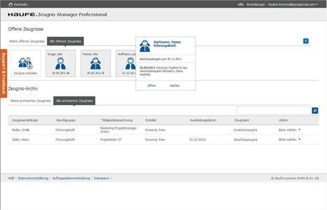 Haufe Zeugnis Manager Professional: Startseite