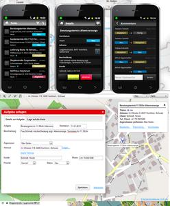MOBILE TEAM screen example: create a task ticket, send it to smart...