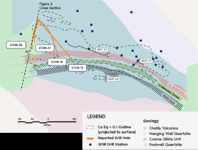 Figure 1. Bedrock geology and surface expression of cobalt-copper mineralization at Iron Creek. Outline of Inferred Resource at 0.1% CoEq from 2018 estimate is projected to surface. The surface projection of mineralized zones, including No Name and Waite Zone, represent continuous sedimentary stratigraphic horizons.