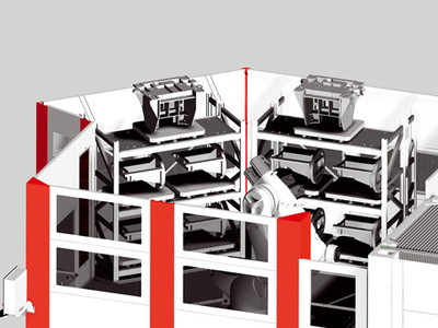 Flexible RS 4 manufacturing system – detailed view of heavy load rack