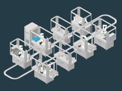 Beispiel-Ansicht einer ARW Microfactory bestehend aus 8 unterschiedlichen Produktionsmodulen.