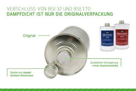 Bild 3: Aus der dampfdichten Verpackung (hier die in Europa verwendeten Deckel von BSE32 und BSE170) geht hervor, dass es sich um ein Originalöl von BITZER handelt