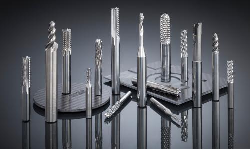 Werkzeugsortiment von Hufschmied für die präzise Bearbeitung von CFK-/GFK-Materialien / Bildquelle: Hufschmied Zerspanungssysteme