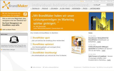 Übersichtlich und frisch präsentiert sich BrandMaker seit heute im Web