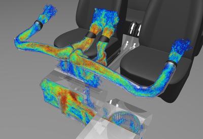 HVAC Volumenvisualisierung von strömungsbasierten Geräuschquellen anhand des zum Patent angemeldeten FIND Modules der Exa PowerACOUSTICS Software
