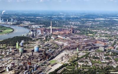 Luftaufnahme Standort Duisburg, thyssenkrupp Steel Europe AG