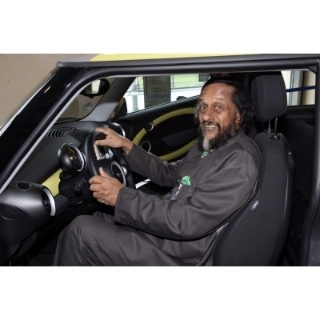 Emission free and still fun to drive: Nobel Laureate and Chairman of the UN IPCC (International Panel on Climate Change) Dr Rajendra Pachauri behind the whell of the all electric MINI E