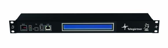 Telegärtner AIM-Lösung Owl für Dokumentation der passiven Gebäudeinfrastruktur.  DRD Rack Device mit Display, üblich einmal pro Schrank