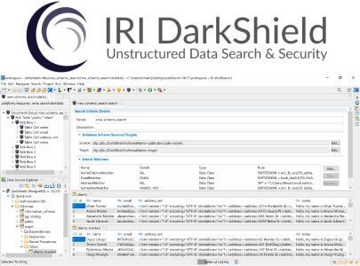 Mit IRI DarkShield können Sie Daten in mehreren semi- und unstrukturierten Dateiformaten gleichzeitig klassifizieren, finden und löschen oder anderweitig maskieren (ebenso wie Gesichter und NoSQL DBs), indem Sie gemeinsame Datendefinitionen und benutzerdefinierte Kombinationen von Such- und Maskierungsfunktionen verwenden. Dabei können Sie auch Auftragsergebnisse (und die zugehörigen Dateimetadaten) in Ihrer DarkShield- oder SIEM-Umgebung extrahieren, gemeinsam nutzen und anzeigen
