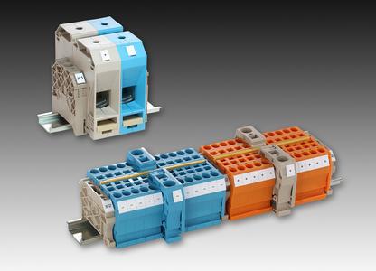 Weidmüller Beispielklemmleisten für 1.000 V-DC Anwendungen: Hinten: WDU 95N/120N zum Anschließen des Wechselrichters (DC-Seite)