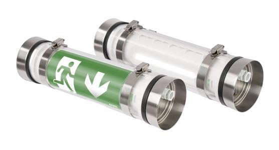 Dank des Edelstahlgehäuses eignen sich Indulux Rettungszeichen- und Sicherheitsleuchten ideal für die Installation in der Lebensmittelindustrie / Bild: ABB