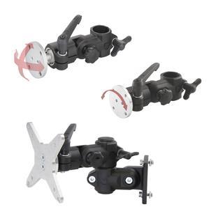Die RK-Monitorhalterung bietet ein Maximum an Flexibilität: Der Anwender kann zwischen Kugelgelenk für viele Freiheitsgrade (o.), Drehflansch (m.) und einer optionalen VESA-Anschlussplatte (u.) jeweils mit Rohr-, Profil oder Wandverbinder wählen