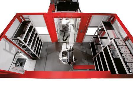 Robotersystem RS 2, der Roboter holt eine Palette aus dem Bearbeitungszentrum