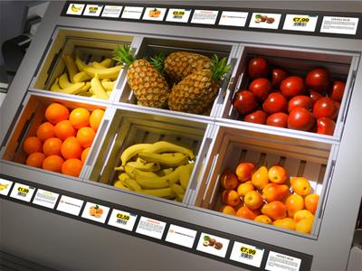 Design In-Store Counter with integrated SHELFVISION LCDs by Kesseboehmer/Gundlach