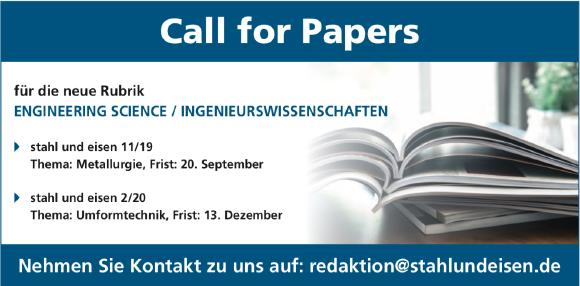 stahl und eisen: Call for Papers 11/19 und 2/20