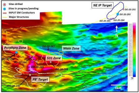 Figure 1: Fall 2020 campaign drillhole locations on 2011 airborne total magnetic field intensity image. Survey coverage did not extend to the NE IP Target area at the time.