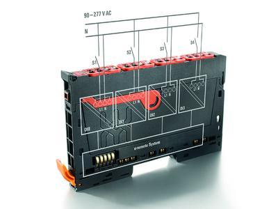 """Weidmüller """"u-remote"""": Das """"u-remote"""" 230V-AC-Modul verarbeitet 110/230-V-AC-Spannungen. Dank seiner zuverlässigen galvanischen Trennung von jedem einzelnen Kanals lassen sich bis zu vier unterschiedliche Spannungen auf einem I/O-Modul einlesen"""