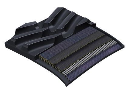 Dank neuer Armorlug-Technologie leisten die Gummiraupenketten nun noch mehr und sind langlebiger: Mehrere in den Antriebsstollen eingebettete Gewebeschichten verstärken das Material / Foto: ContiTech