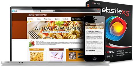 Modern und praktisch auch wegen der enthaltenen App FeedReady: WebSite X5 Professional v10