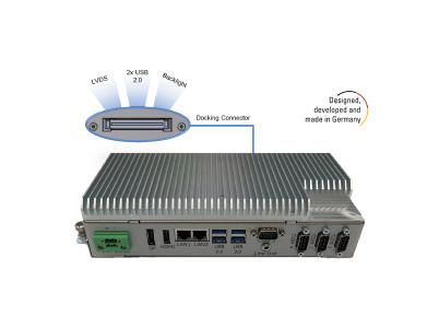 BoxPC Pro 7300 from Distec with innovative docking connector to connect LVDS monitor, backlight, touch and webcam, Copyright: Distec