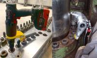 (1)Der neue Volta (links) schafft durch seinen großen Akku und starken Motor die Voraussetzung für ein effizientes Arbeiten. Durch die kompakten Abmessungen der hydraulischen Vierkant-Schrauber der Serie TU (rechts) sind auch in Engstellen der Inbusschrauben einer Schrottpresse große Drehmomente garantiert