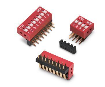 Den neuen DIP-Schalter WS-DITU gibt es in abgewinkelter Form mit erhabenem Betätiger / Bildquelle: Würth Elektronik eiSos