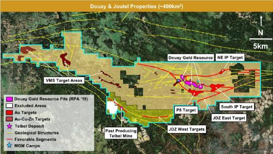Figure 1: Douay and Joutel property package showing existing Douay gold resource, past-producing Telbel mine and major regional discovery target areas