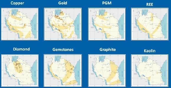 Figure: Mineral predictive maps of Tanzania