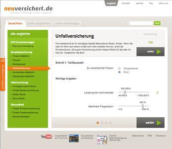 neuversichert.de Filterabfragen Unfallversicherung