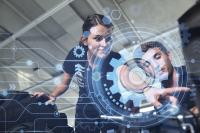 Der Studiengang Allgemeiner Maschinenbau bereitet seine Studierenden auf die Industrie 4.0 vor / Fotonachweis: © Hochschule Aalen   Rainer Pfisterer; Grafik: © www.freepik.com