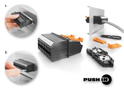 Die neue Durchführungsklemmen in PUSH IN-Anschlusstechnik entsprechen aktuellen Anwenderbedürfnissen hinsichtlich Komfort und Kostenersparnis bei der Montage und beim Leiteranschluss. Detail 1: Hochpolige Klemmenblöcke lassen sich schnell, einfach und platzsparend in die Gehäusewand einrasten. Detail 2: Der PUSH IN-Anschluss nimmt Leitungen mit Aderendhülsen bis 4,0 mm2 problemlos auf