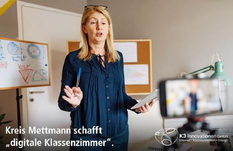 """Kreis Mettmann schafft """"digitale Klassenzimmer"""" - 1.800 Schüler können nun über BigBlueButton digital beschult werden. Das Projekt wurde innerhalb weniger Tage umgesetzt."""