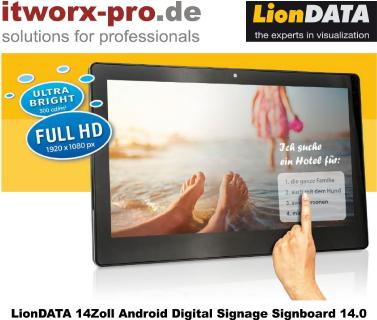 Digital Signage: Neues 14 Zoll Android Digital Signage Signboard von LionDATA