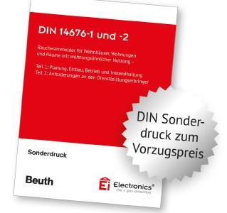 Mit der gebundene Sonderausgabe der DIN 14676-1 und -2 im kompakten DIN A5-Format sind Fachkräfte für Rauchwarnmelder gut informiert