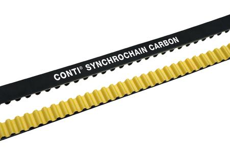 The new CONTI® SYNCHROCHAIN CARBON with carbon tension member offers efficient drive system solutions / Photo: ContiTech